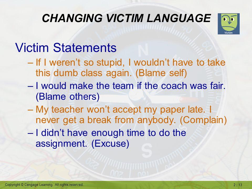 CHANGING VICTIM LANGUAGE