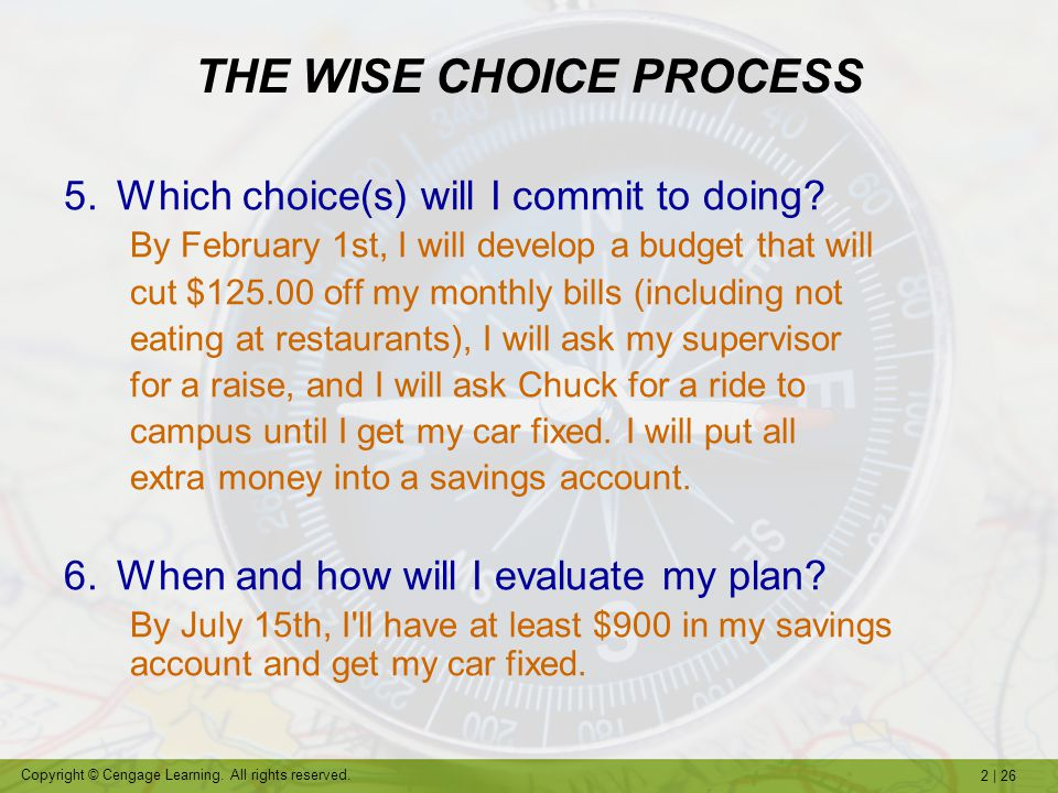 THE WISE CHOICE PROCESS