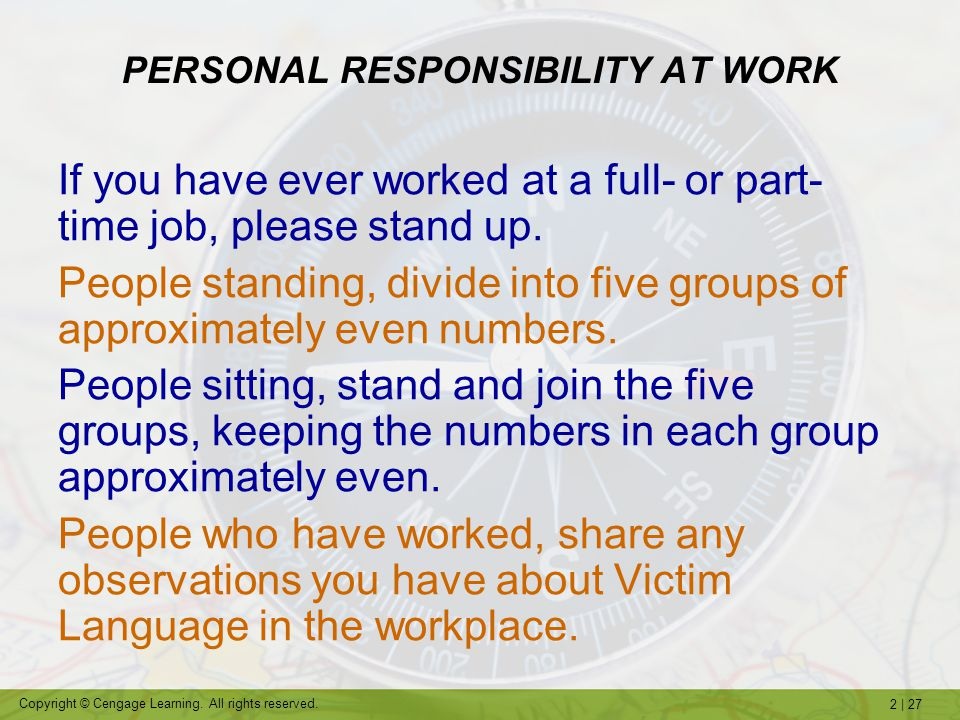 PERSONAL RESPONSIBILITY AT WORK