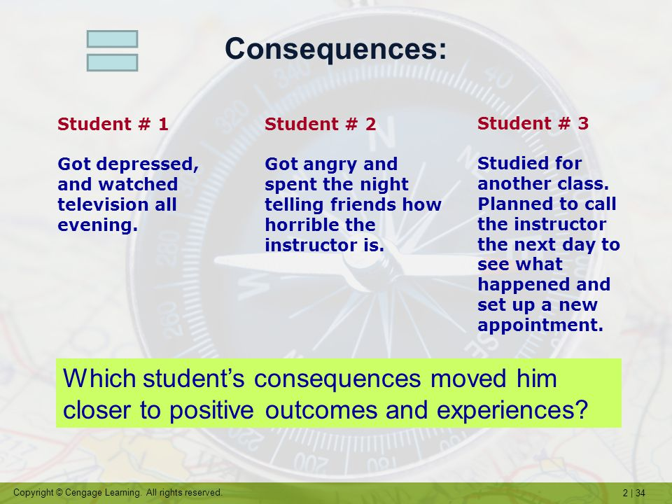 Consequences: Student # 1. Got depressed, and watched television all evening. Student # 2.
