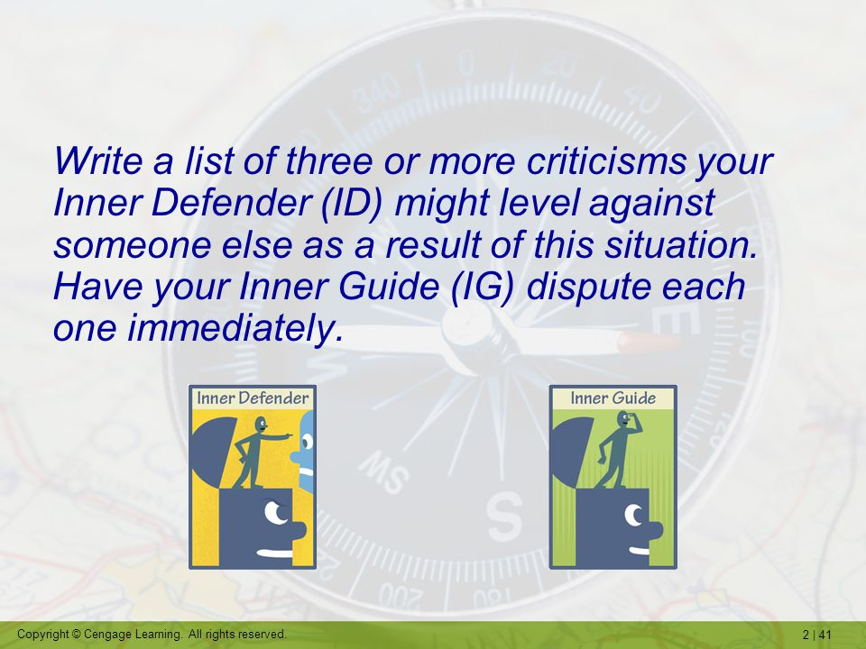 Write a list of three or more criticisms your Inner Defender (ID) might level against someone else as a result of this situation.