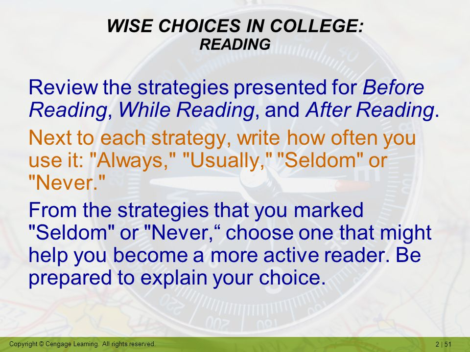 WISE CHOICES IN COLLEGE: READING