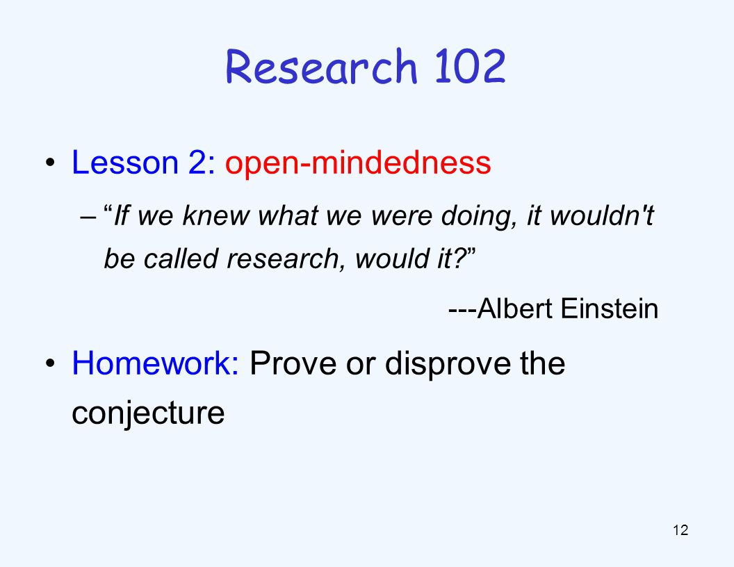 Research 103 Lesson 3: inspiration in simple cases