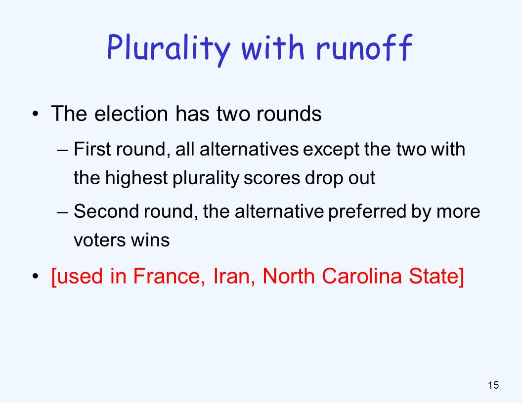 Example: Plurality with runoff