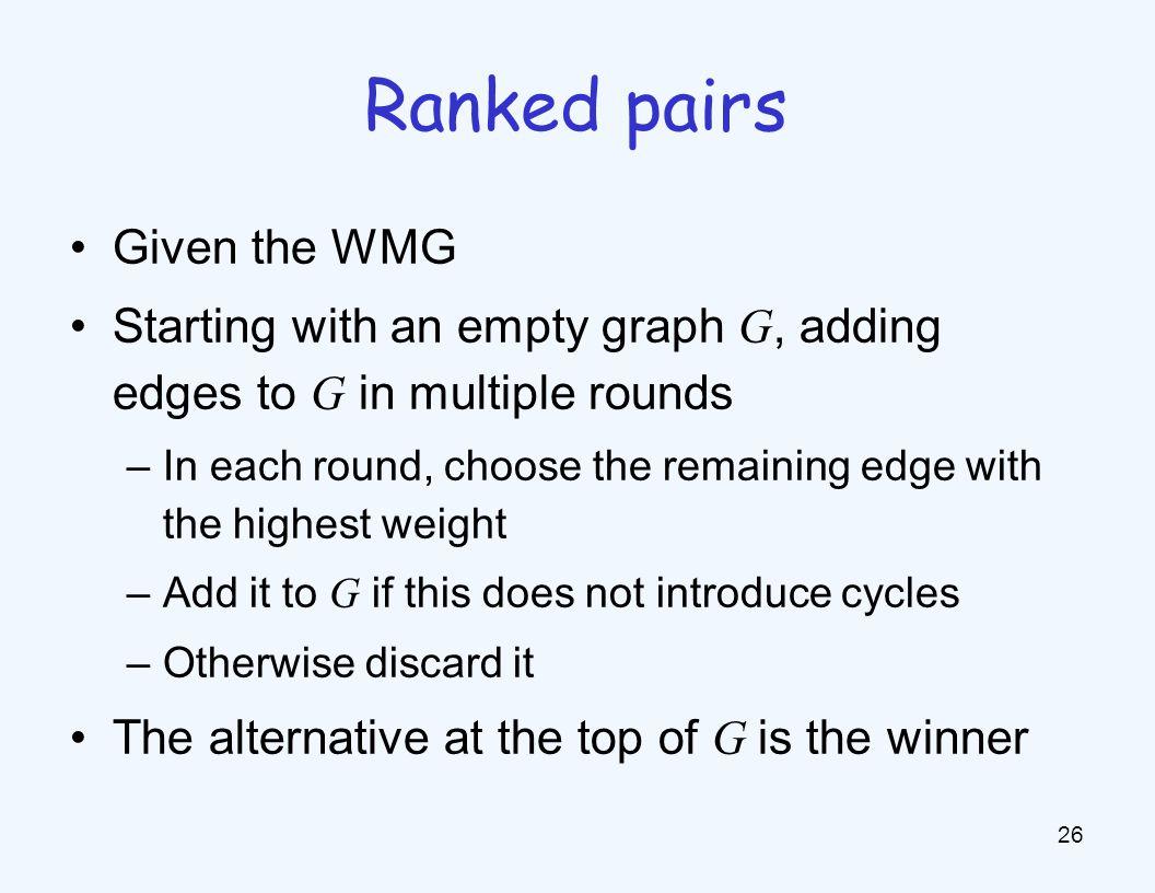 Example: ranked pairs WMG G a b a b c d c d 20 12 16 6 14 8