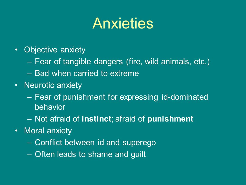 Anxieties Objective anxiety