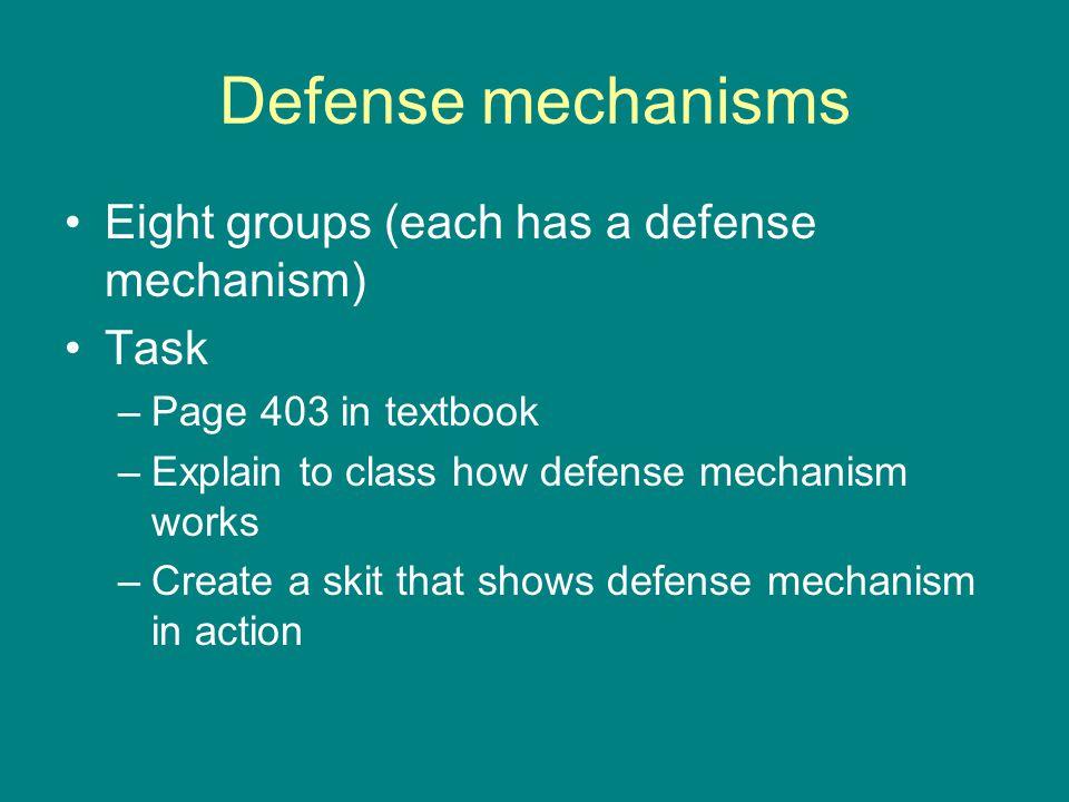 Defense mechanisms Eight groups (each has a defense mechanism) Task