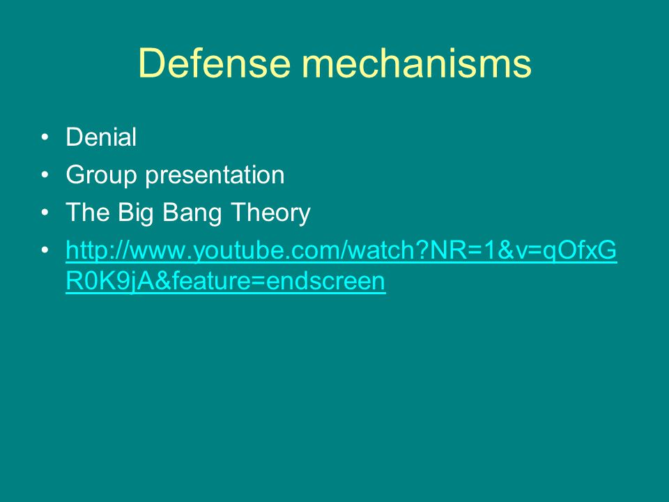 Defense mechanisms Denial Group presentation The Big Bang Theory