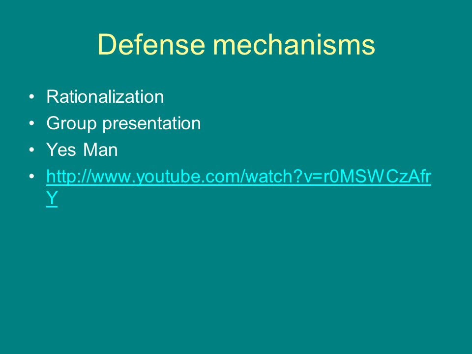 Defense mechanisms Rationalization Group presentation Yes Man
