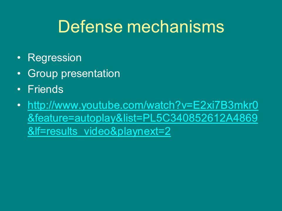Defense mechanisms Regression Group presentation Friends