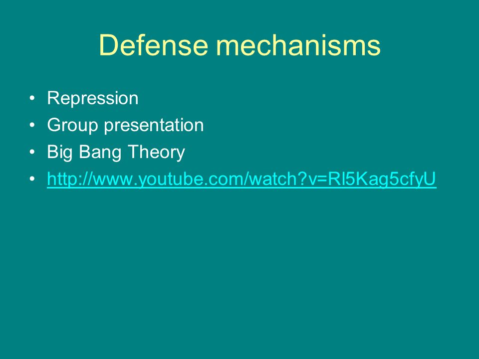 Defense mechanisms Repression Group presentation Big Bang Theory