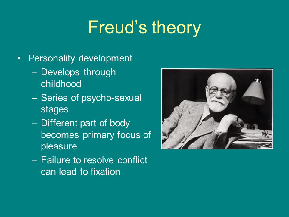 Freud's theory Personality development Develops through childhood