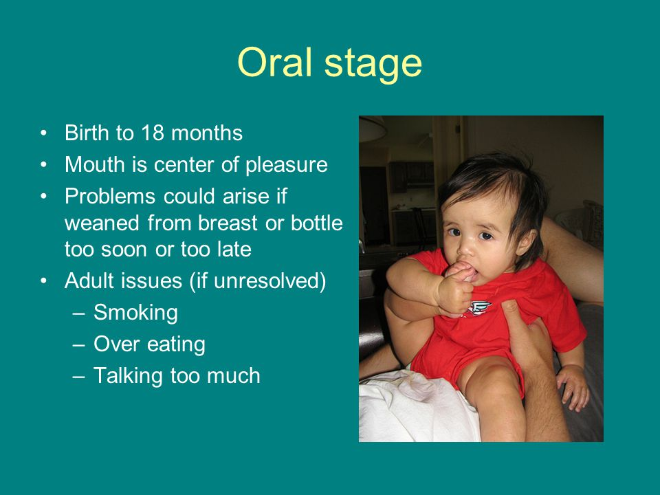 Oral stage Birth to 18 months Mouth is center of pleasure