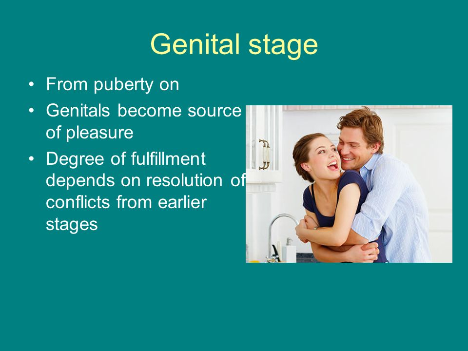 Genital stage From puberty on Genitals become source of pleasure