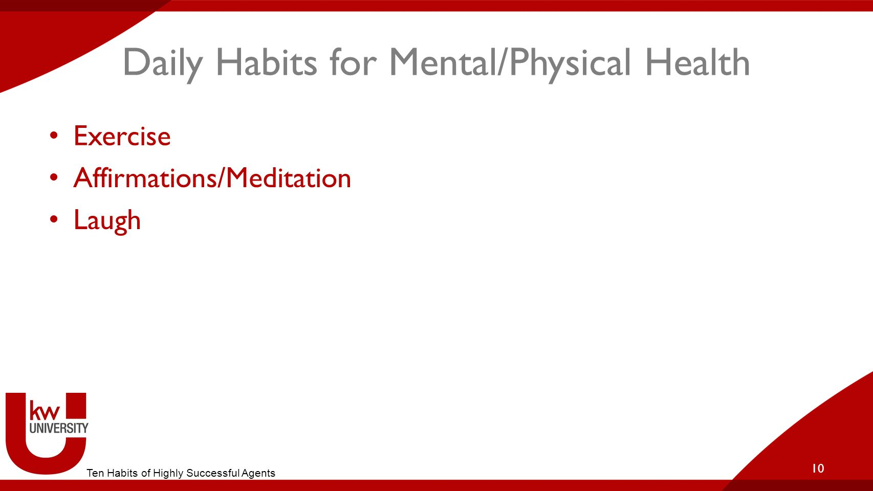 Daily Habits for Mental/Physical Health