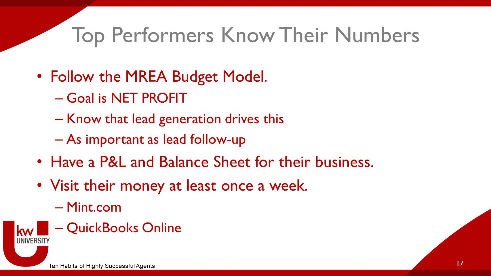 Top Performers Know Their Numbers