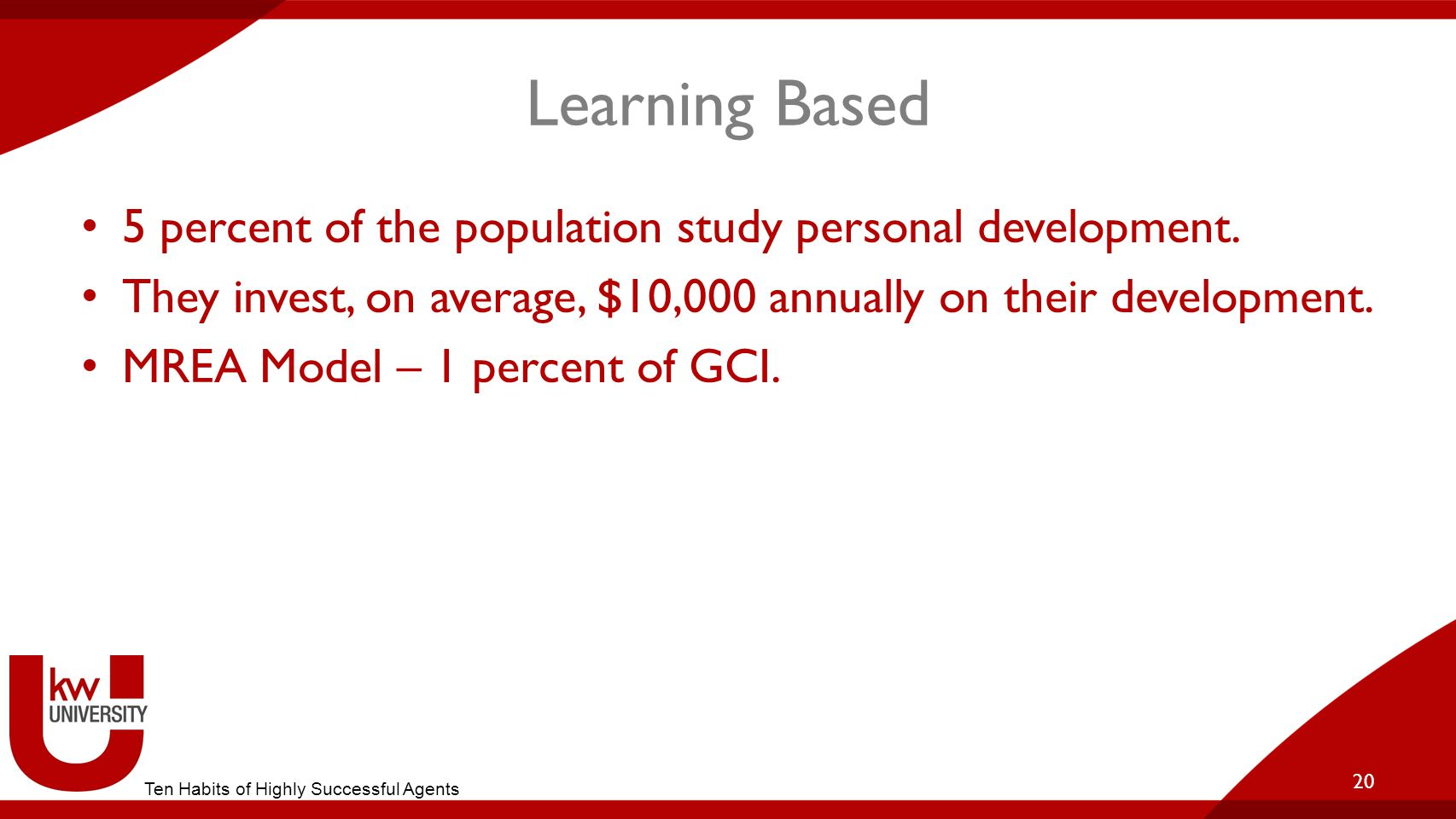 Learning Based 5 percent of the population study personal development.