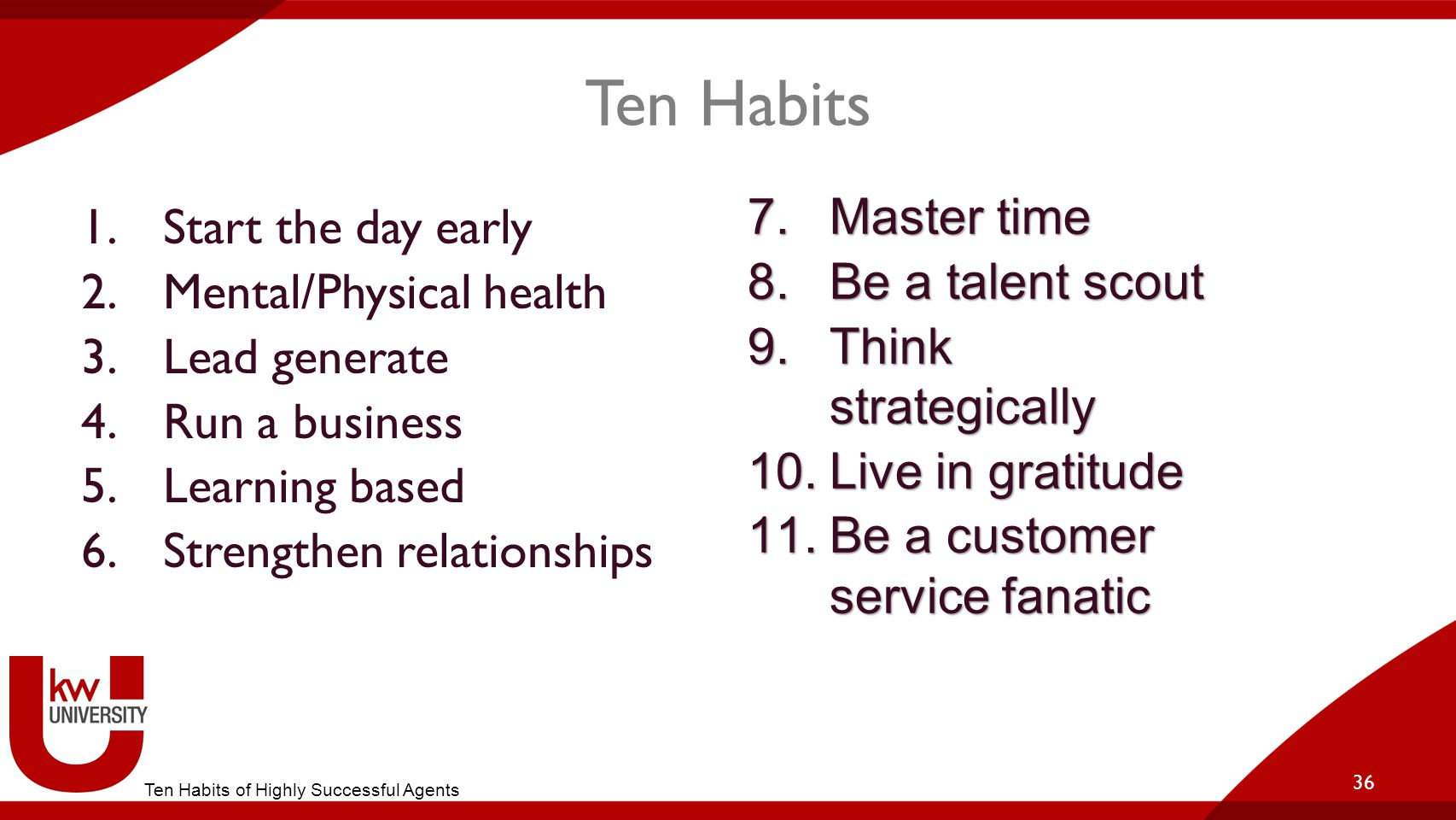 Ten Habits Master time Start the day early Be a talent scout