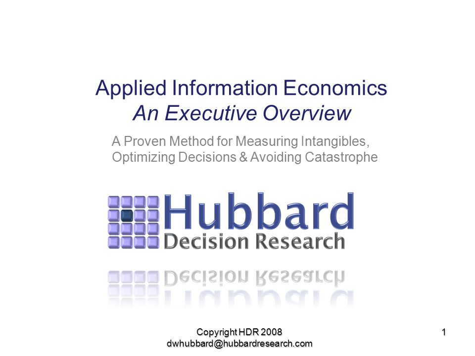 Applied Information Economics An Executive Overview