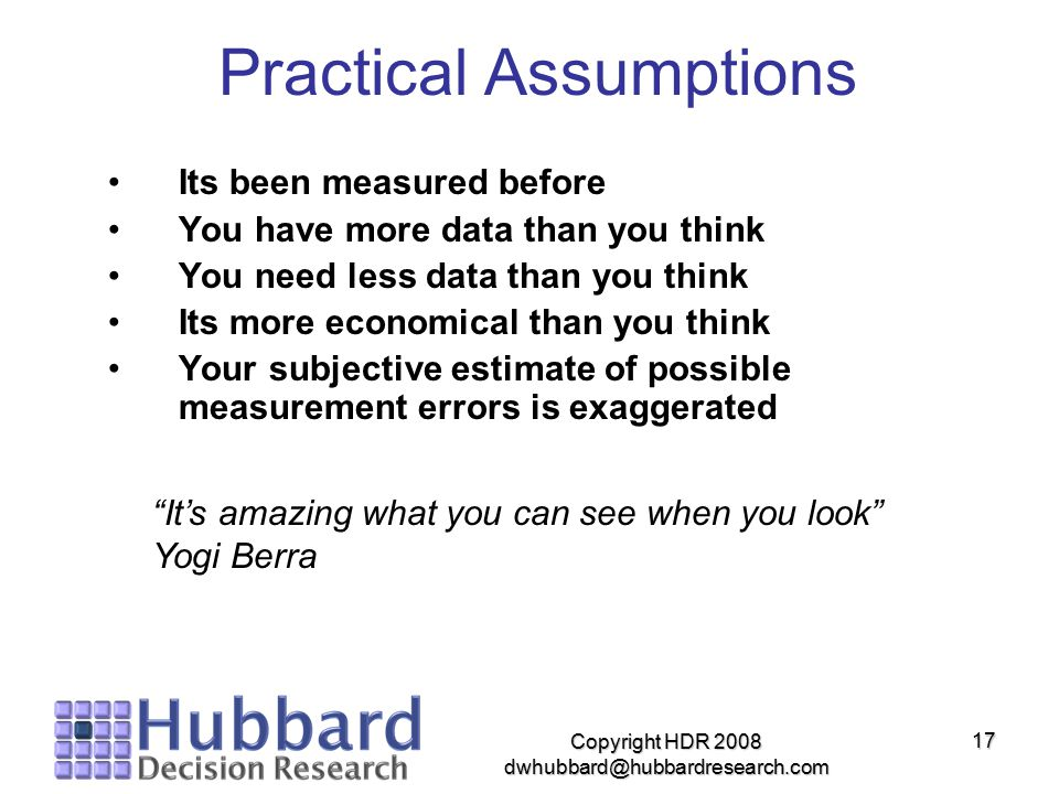 Practical Assumptions