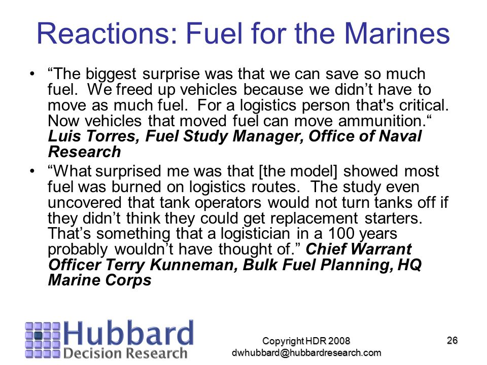 Reactions: Fuel for the Marines