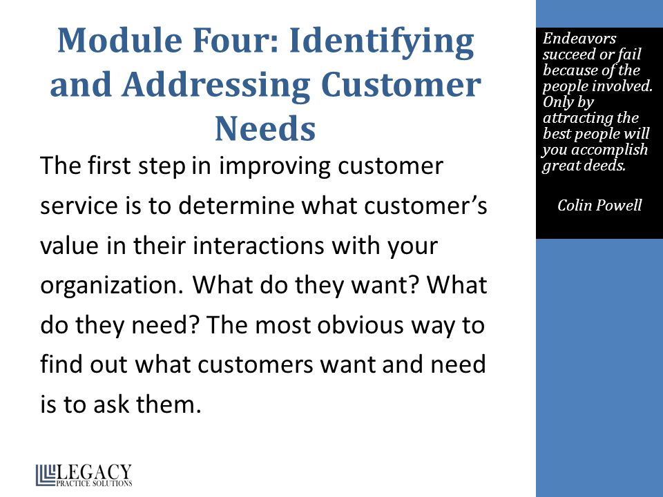 Module Four: Identifying and Addressing Customer Needs