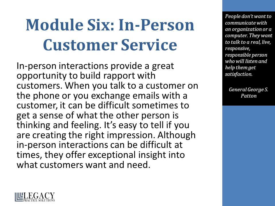Module Six: In-Person Customer Service