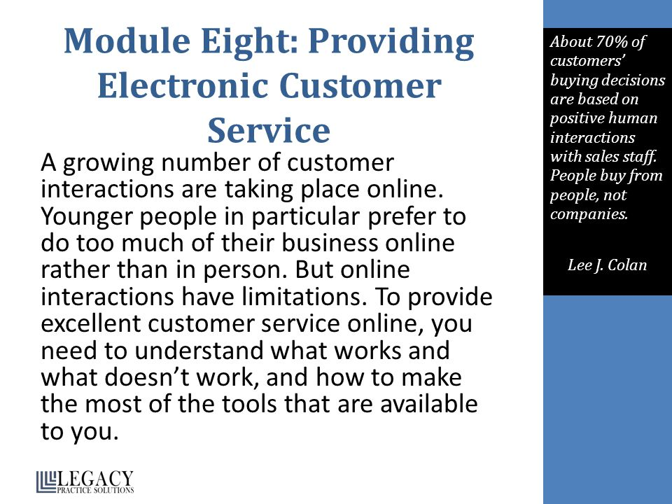 Module Eight: Providing Electronic Customer Service