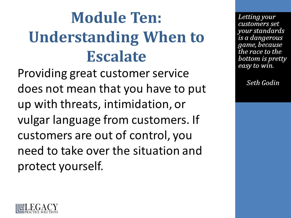 Module Ten: Understanding When to Escalate