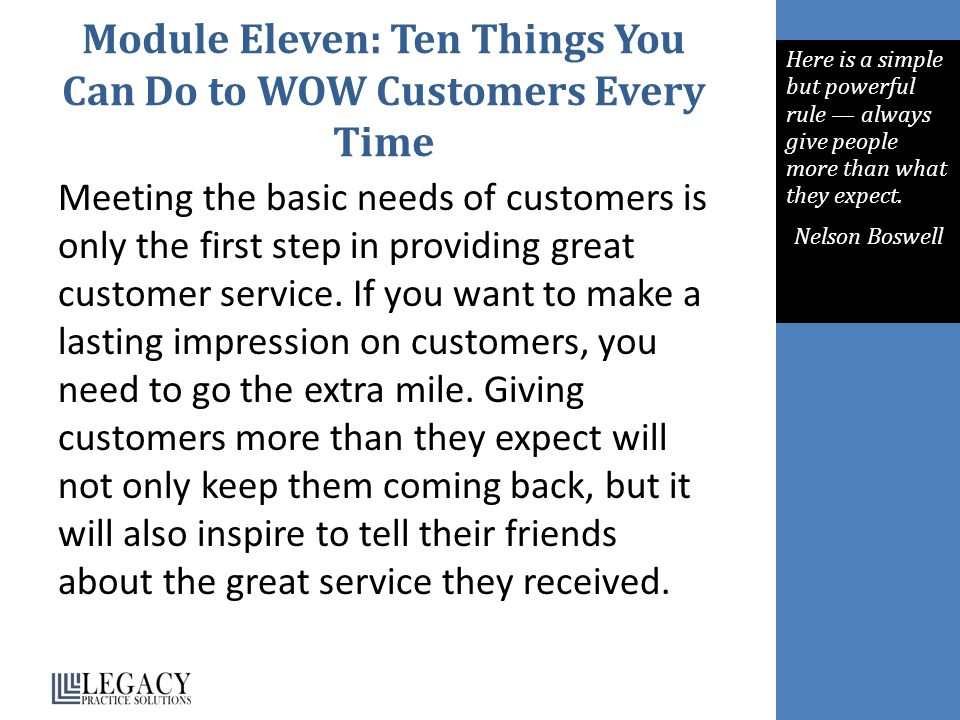 Module Eleven: Ten Things You Can Do to WOW Customers Every Time