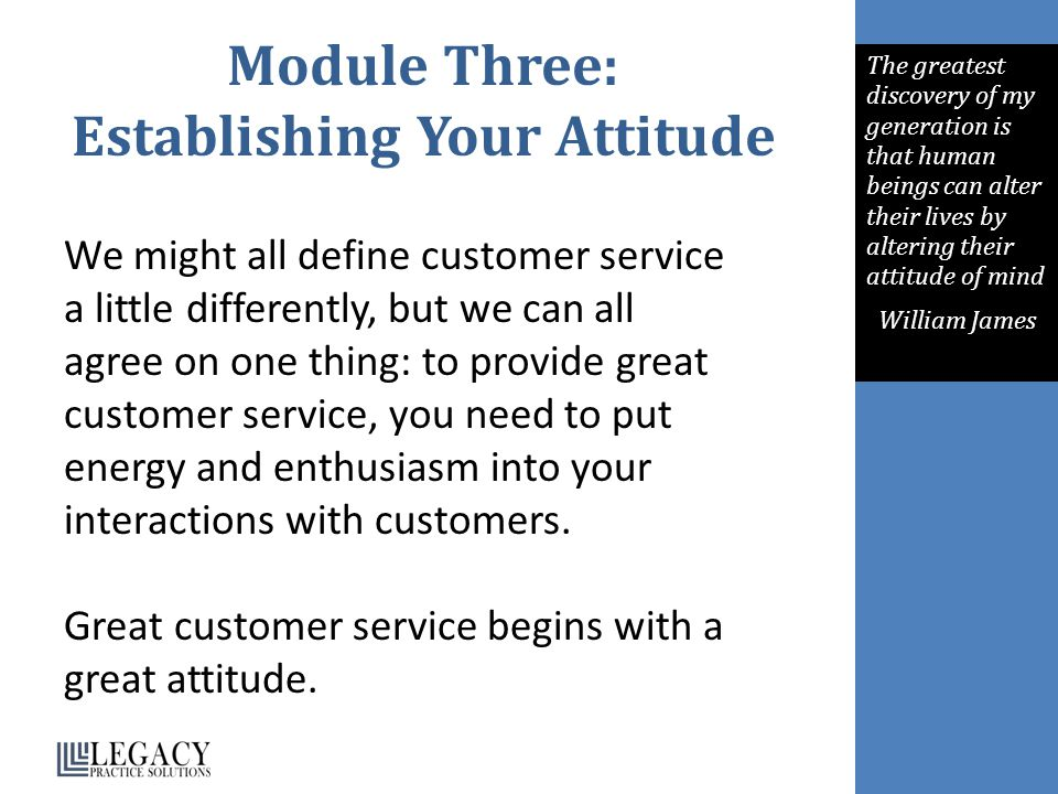 Module Three: Establishing Your Attitude
