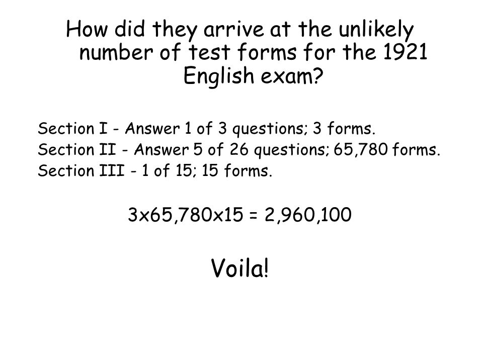 How did they arrive at the unlikely number of test forms for the 1921 English exam