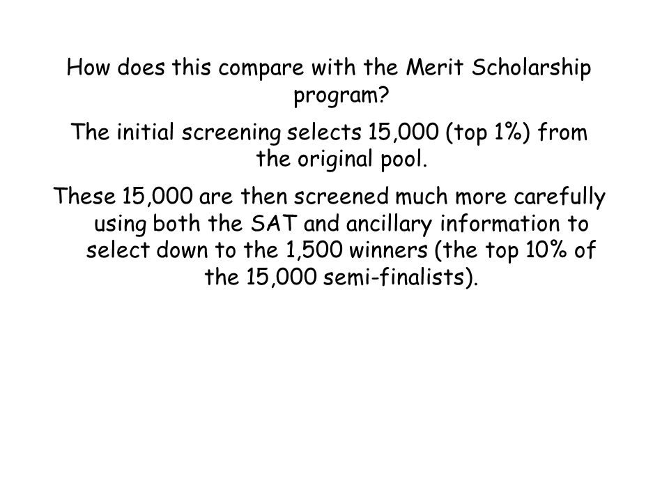 How does this compare with the Merit Scholarship program