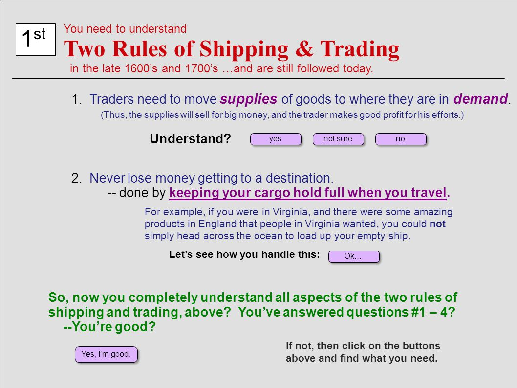 Two Rules of Shipping & Trading 1st