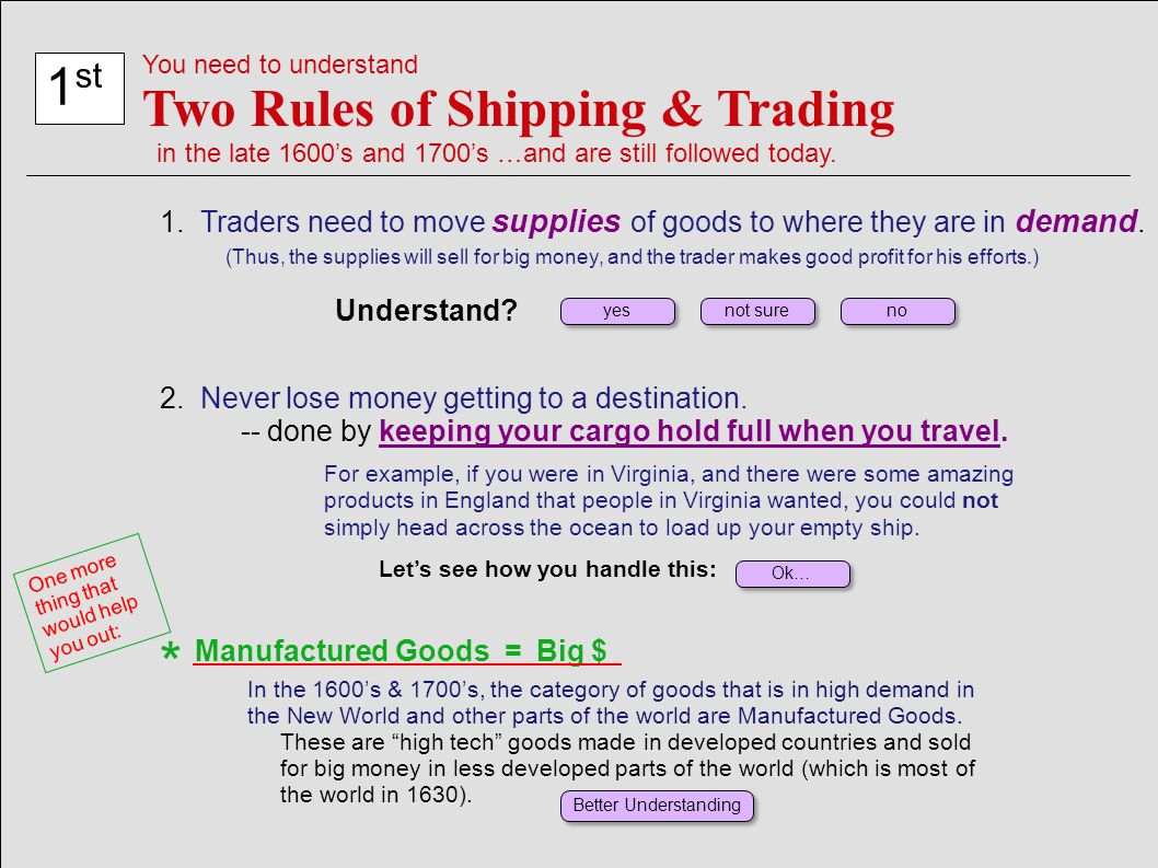 * 1st Two Rules of Shipping & Trading