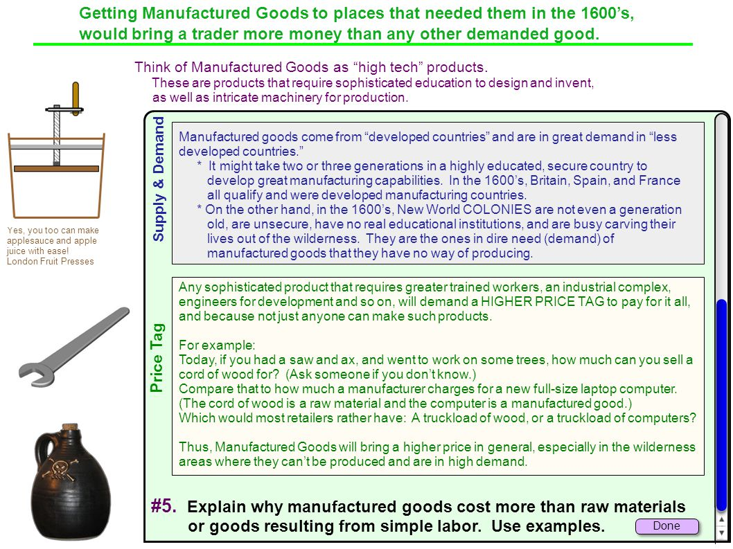 #5. Explain why manufactured goods cost more than raw materials