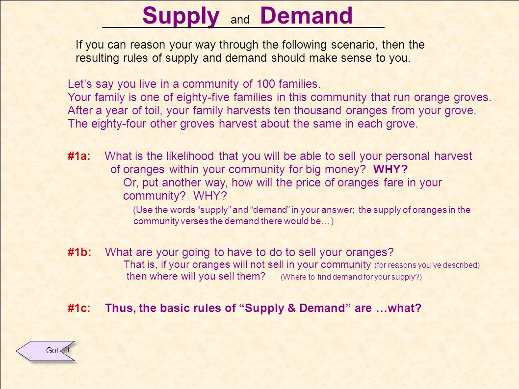 Supply and Demand If you can reason your way through the following scenario, then the.