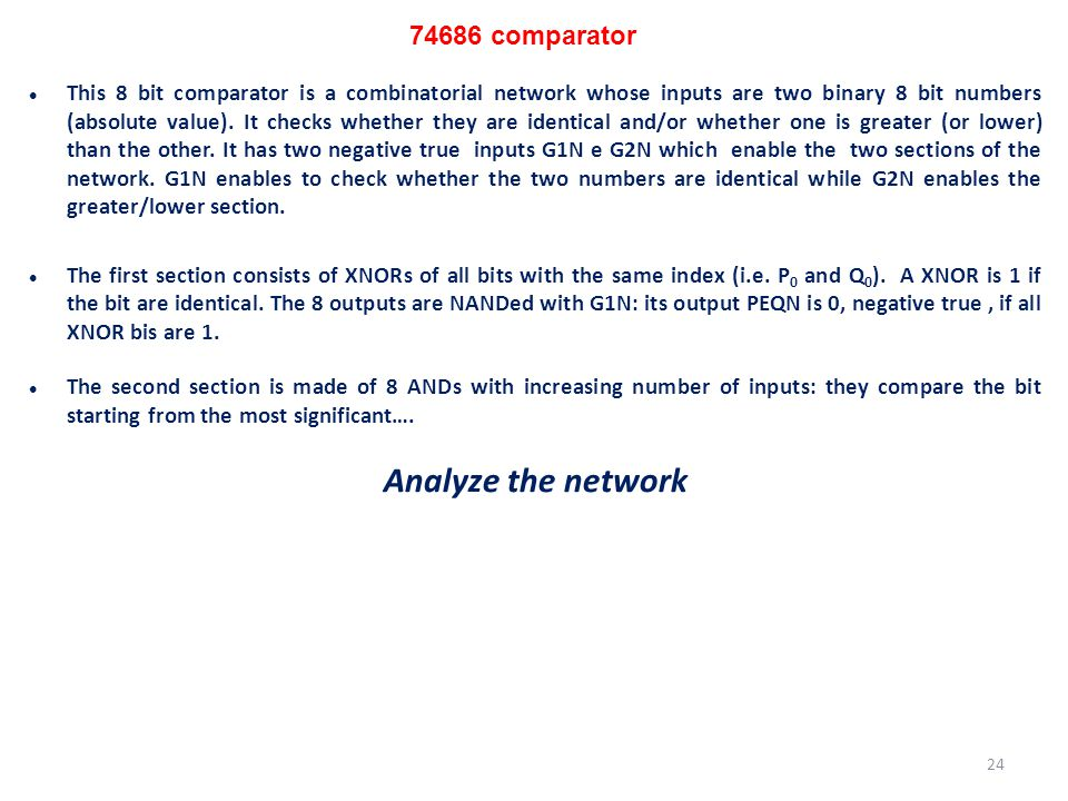 Analyze the network 74686 comparator