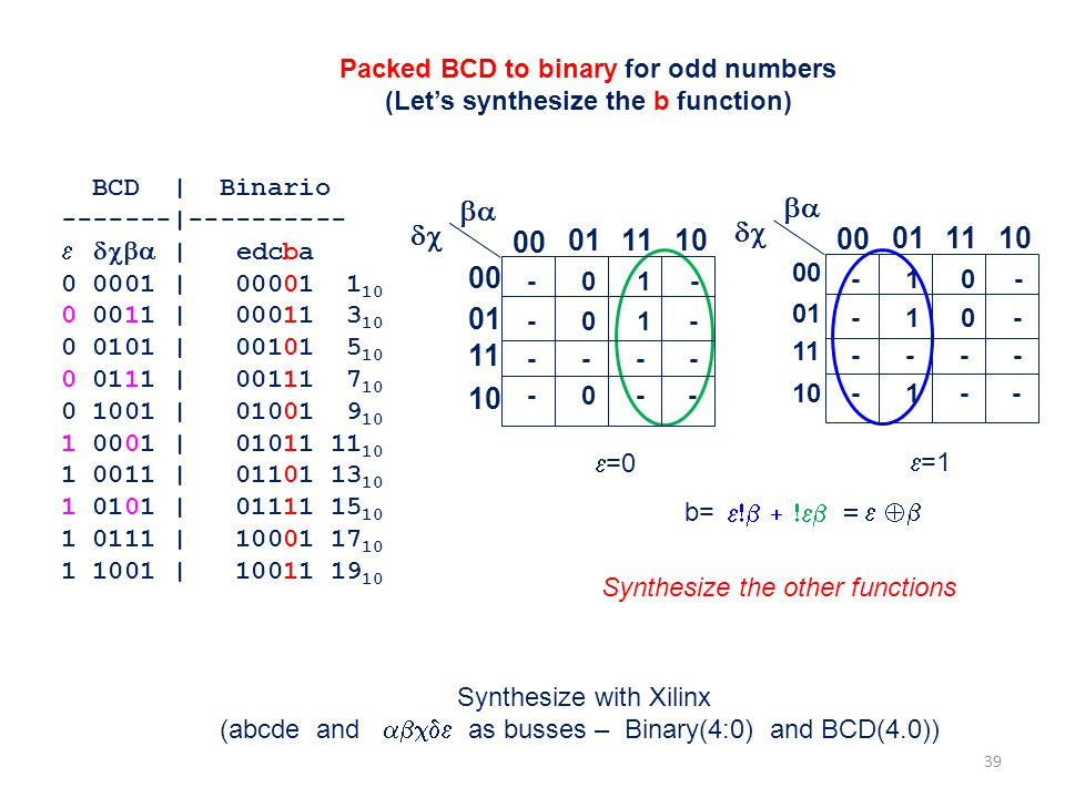 Packed BCD to binary for odd numbers (Let's synthesize the b function)