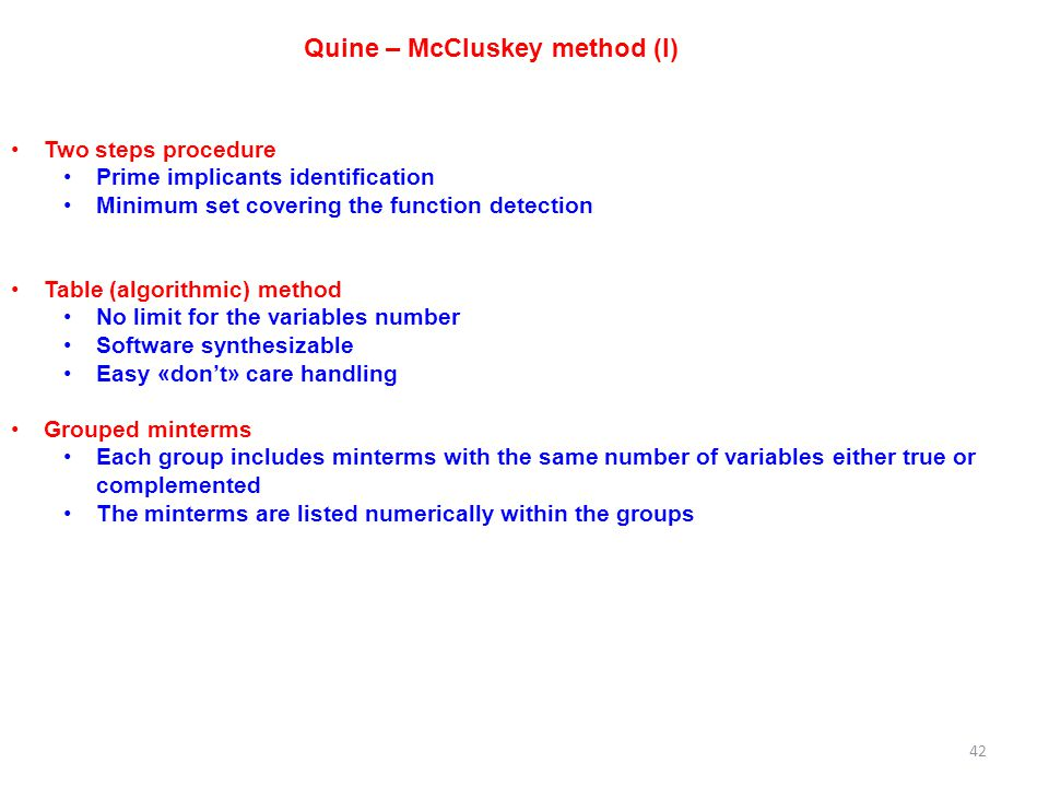 Quine – McCluskey method (I)