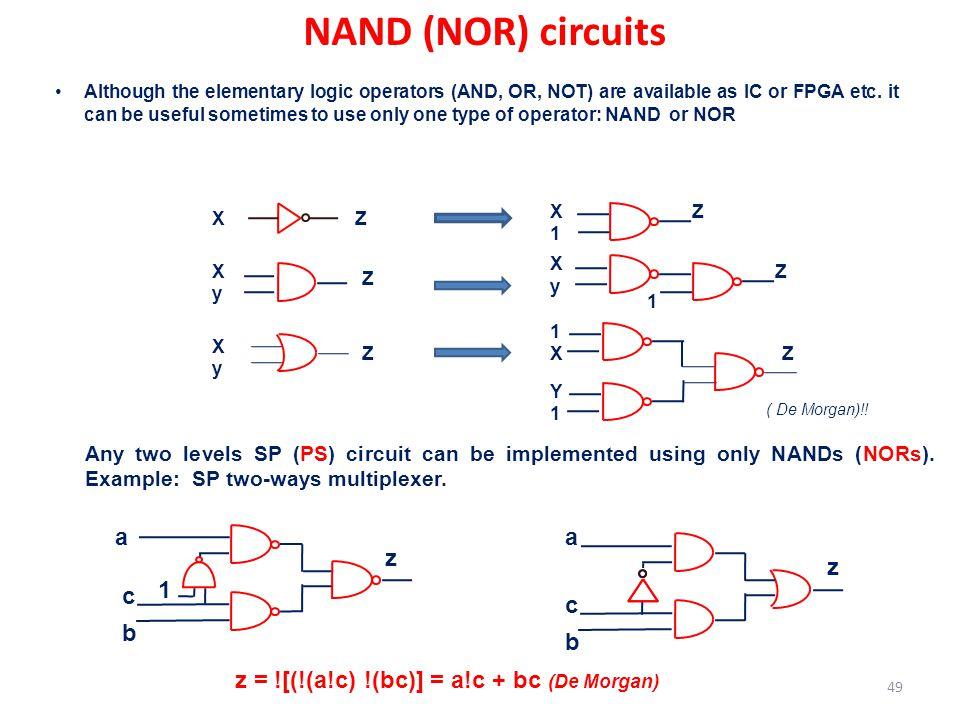 NAND (NOR) circuits a z b c 1 z a b c