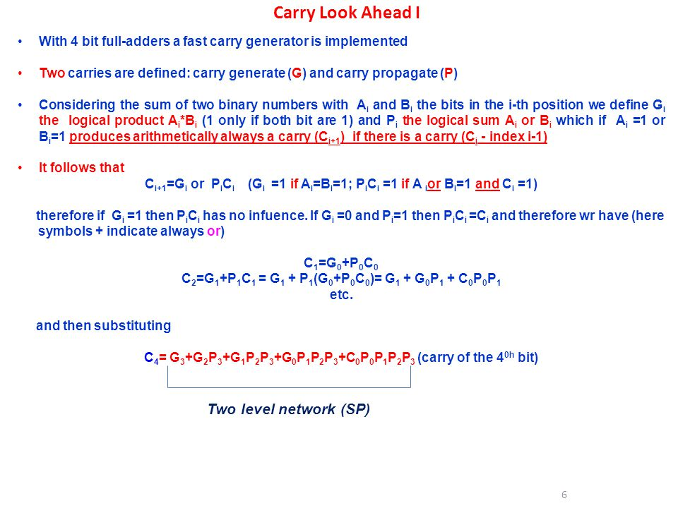 Carry Look Ahead I Two level network (SP)