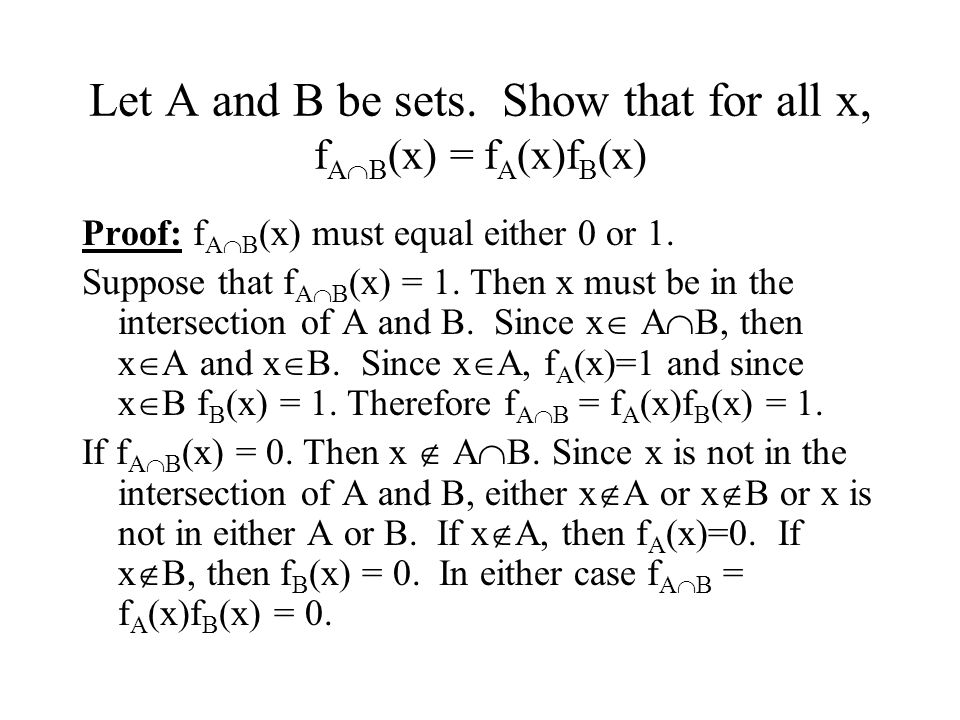 Let A and B be sets. Show that for all x, fAB(x) = fA(x)fB(x)