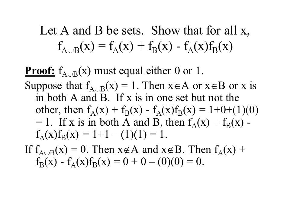 Let A and B be sets. Show that for all x, fAB(x) = fA(x) + fB(x) - fA(x)fB(x)