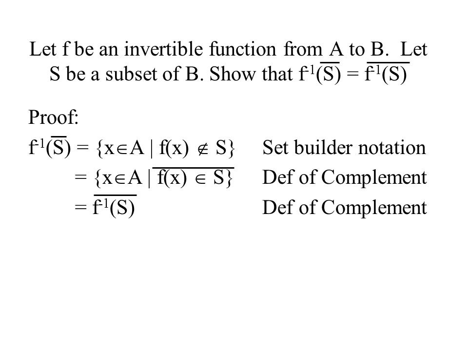 Let f be an invertible function from A to B. Let S be a subset of B