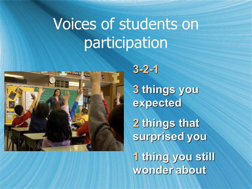 Voices of students on participation