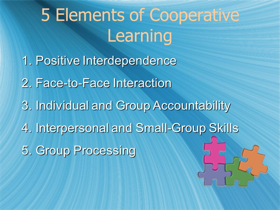 5 Elements of Cooperative Learning