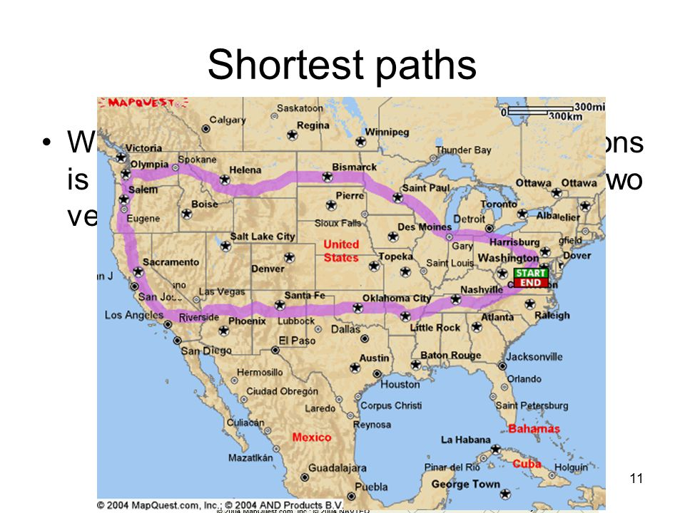 Shortest paths What is really needed in most applications is finding the shortest path between two vertices.
