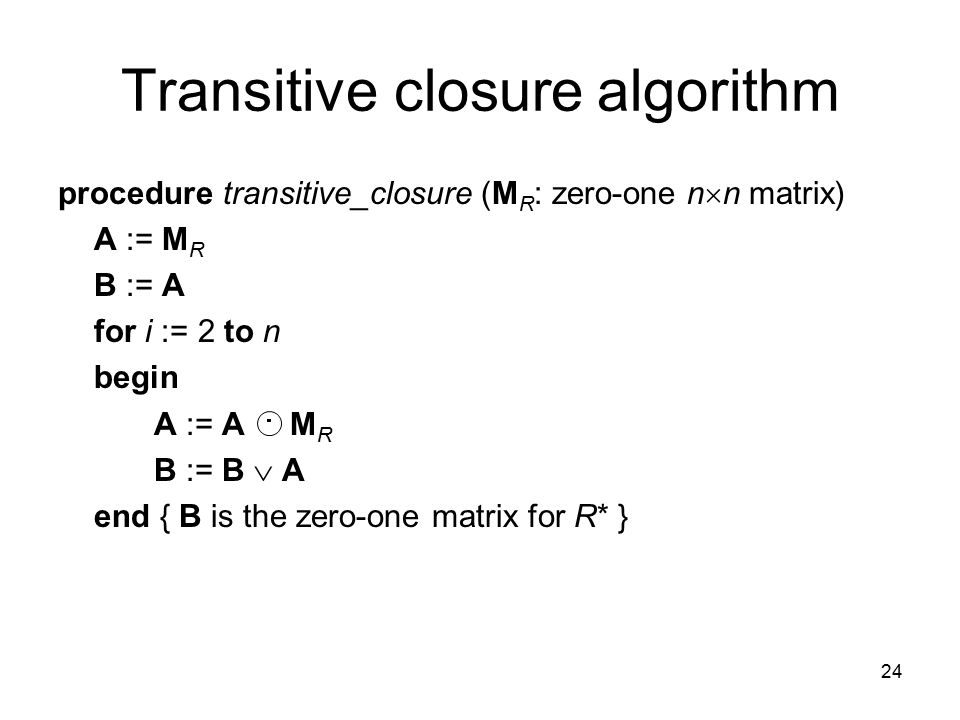 Transitive closure algorithm