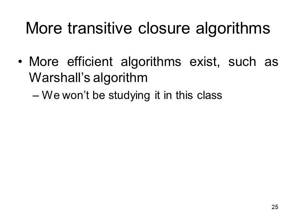 More transitive closure algorithms